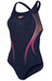 speedo Endurance10 Activeturn Placement Powerback Swimsuit Women navy/disco peach/magenta